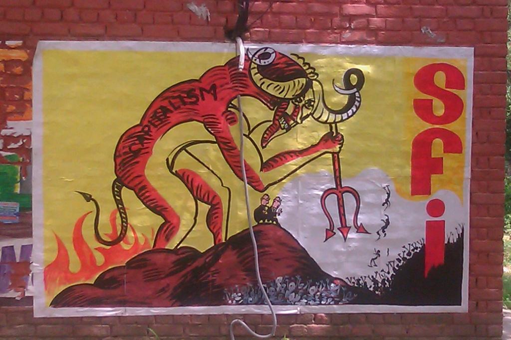 Capitalism mural by SFI, JNU, Delhi - photo Matt Birkinshaw