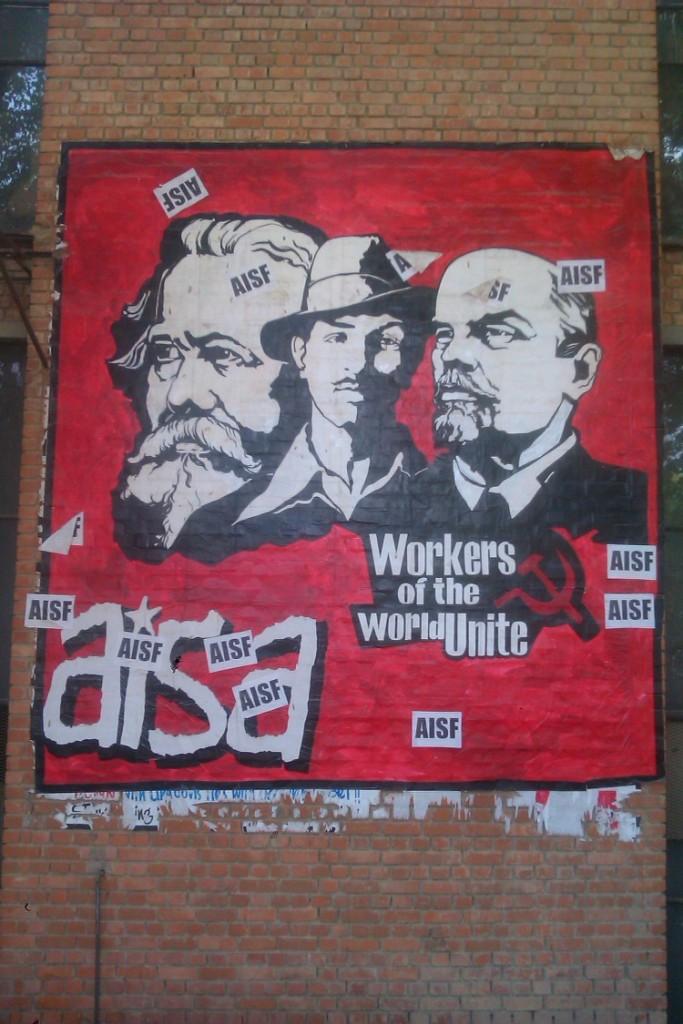 Marx, Bhagat Singh, Lenin mural by AISF, JNU, Delhi - photo Matt Birkinshaw