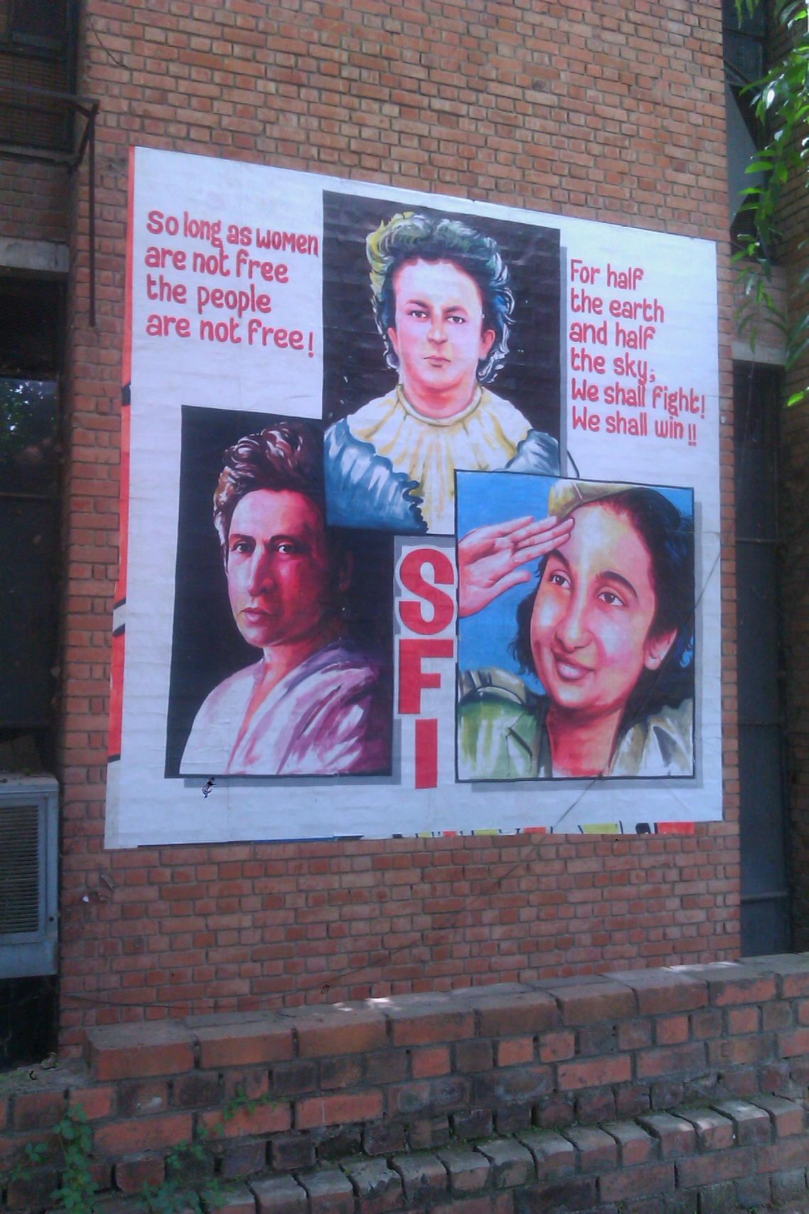 Feminist mural by SFI, JNU, Delhi - photo Matt Birkinshaw
