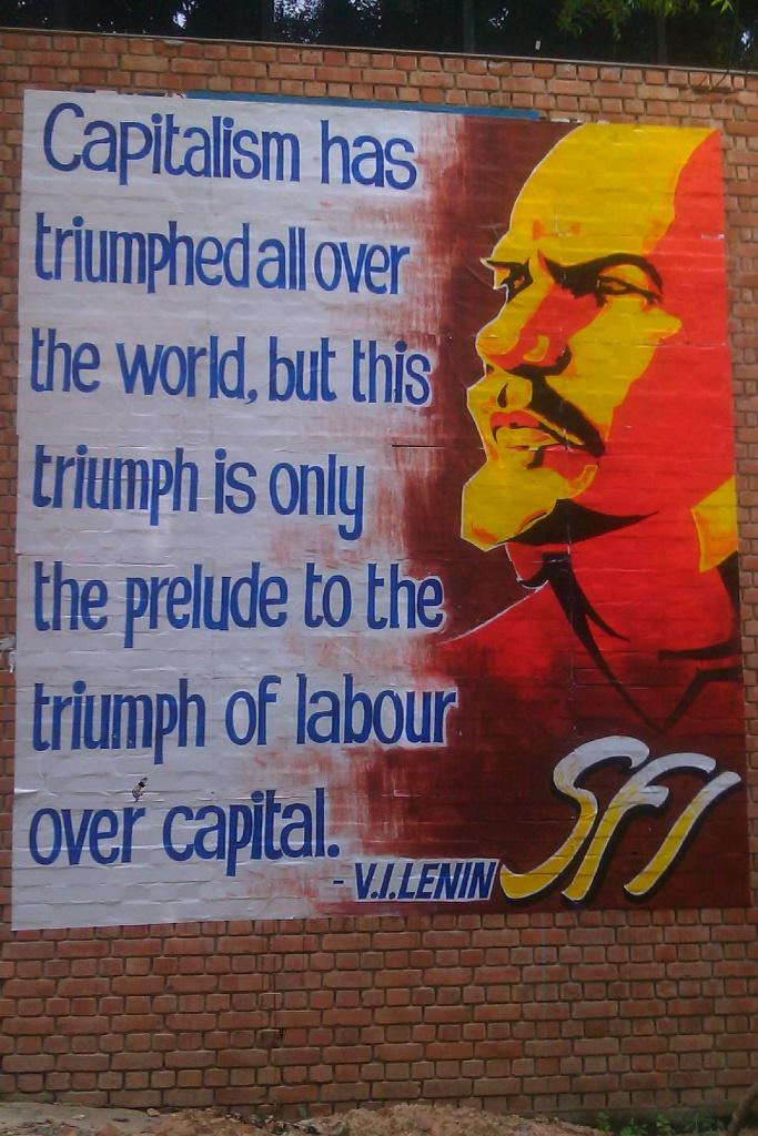 Lenin mural, SFI, JNU, Delhi - photo, Matt Birkinshaw